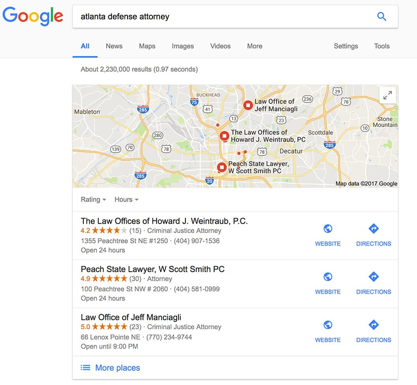 screenshot of a google search result with the 3 pack maps shown