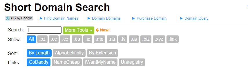 short domain search tool