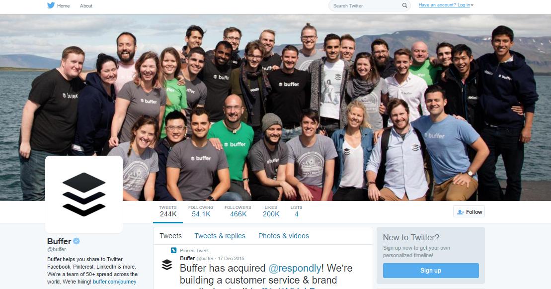 buffer header has members of team in photo