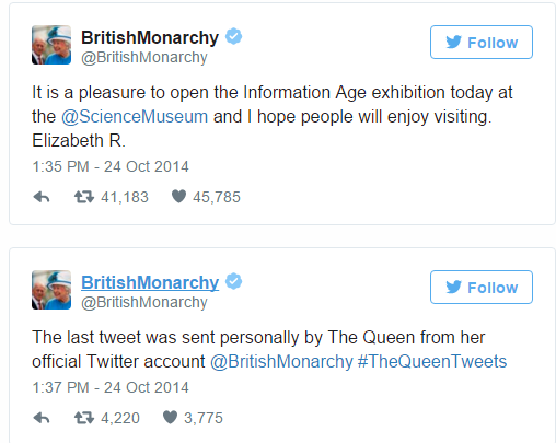 queen tweets and uses I