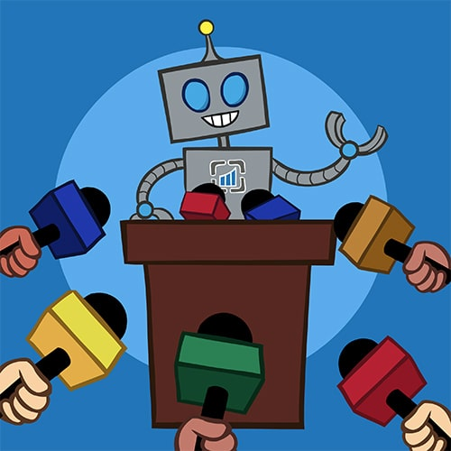 cartoon of flagstone robot at a press release conference