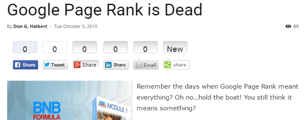 2010 google page rank is dead