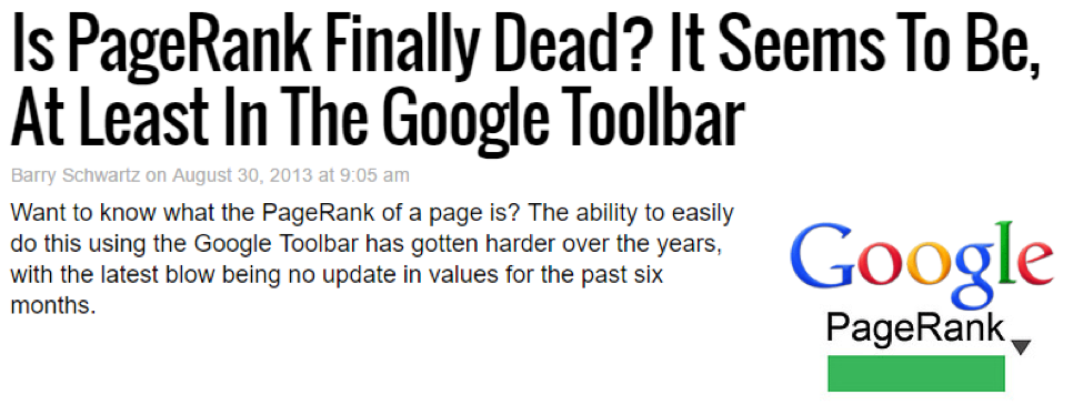 2013 google toolbar drops google page rank