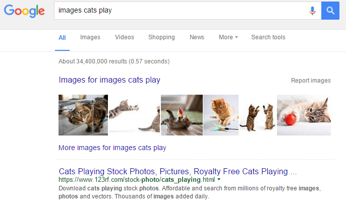 google search machine learning can tell that these are images for cats playing