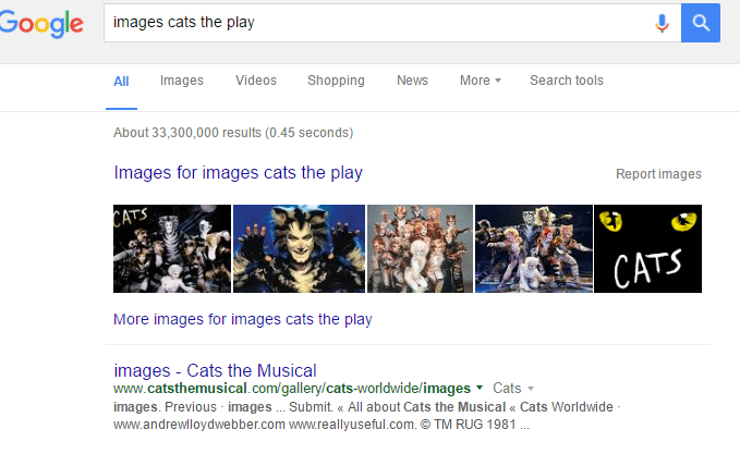 machine learning capacities of Google search know that cats the play is different than cats play
