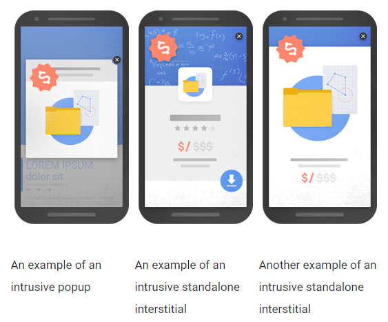 google popup interstitial update