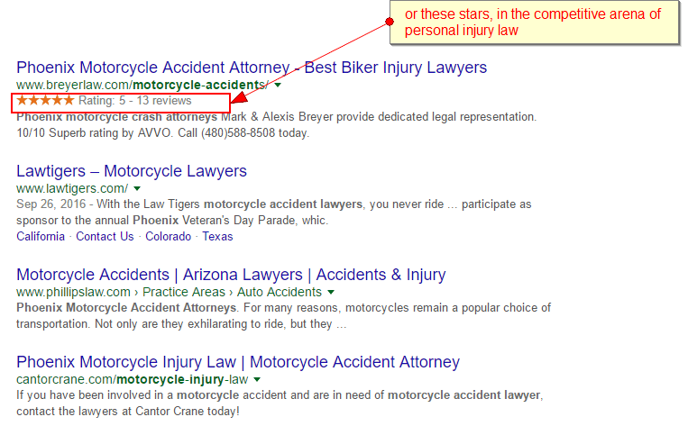 star ratings lawyer serps