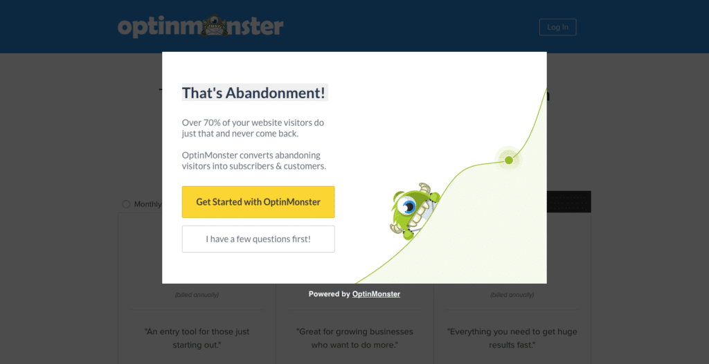 example of an exit popup from optin monster