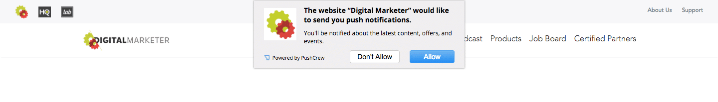 a photo of push notifications for a website
