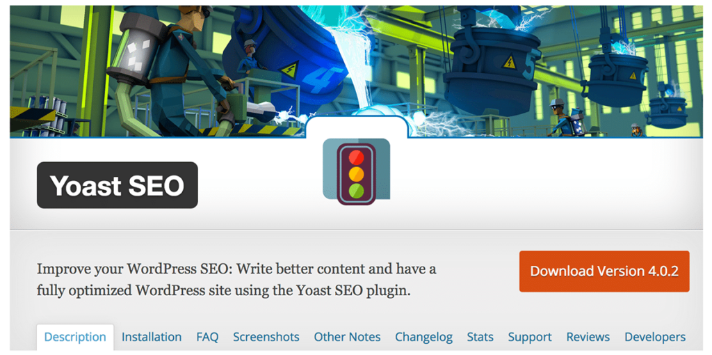 a screengrab of the yoast seo plugin on wordpress.org