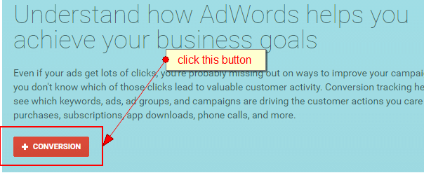 click the red + conversion button to set up call tracking