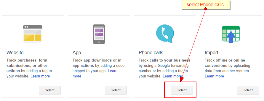 select phone calls from the conversion tracking menu