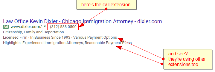 here the call extensions - and they're using other extensions in the same ad