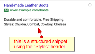 the is a structured snippet using the styles header