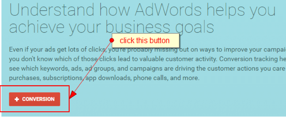 screenshot showing how to set up google adwords conversion tracking for phone calls