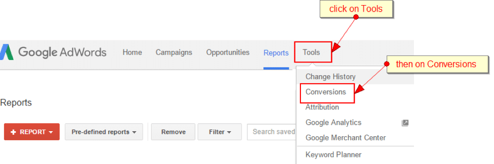 screenshot of google adwords set up screen