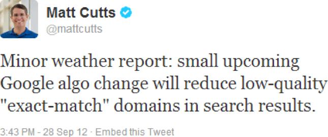 matt cutts tweet about the 2012 google emd update