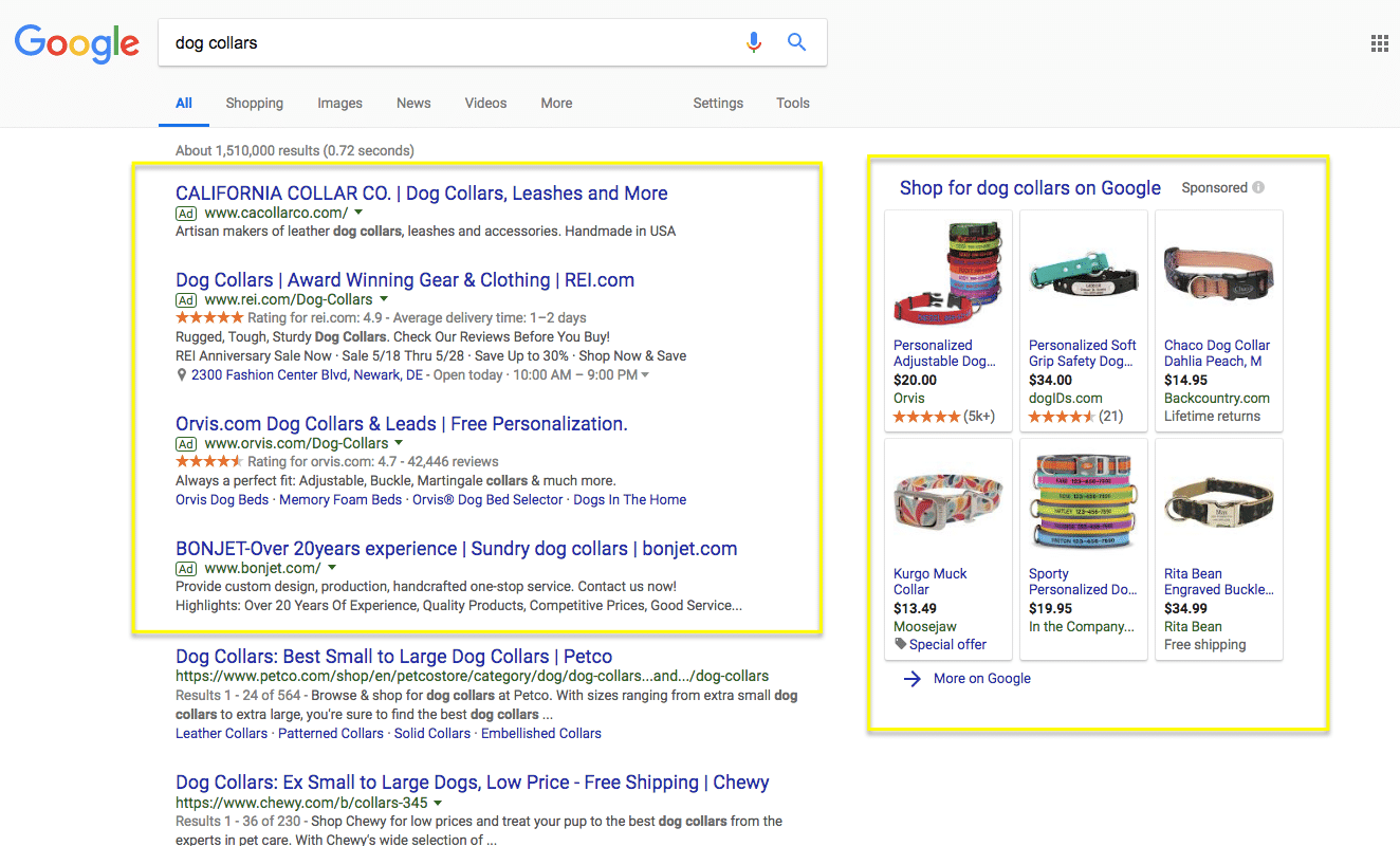 ppc advertising example picture of a google search results page