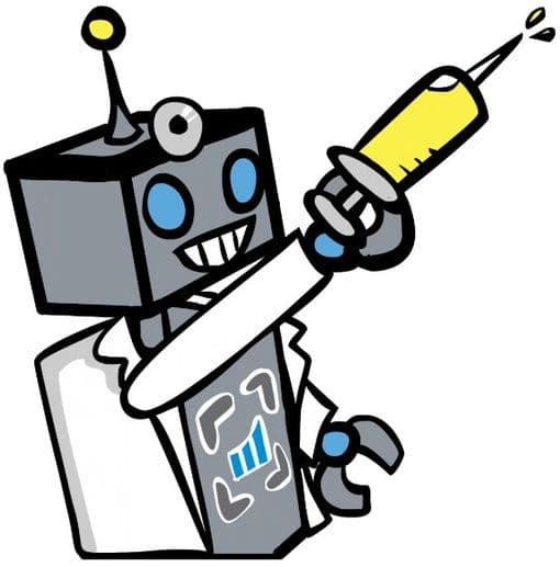 custom illustration of flagstone robot to convey the idea of a website analysis for seo